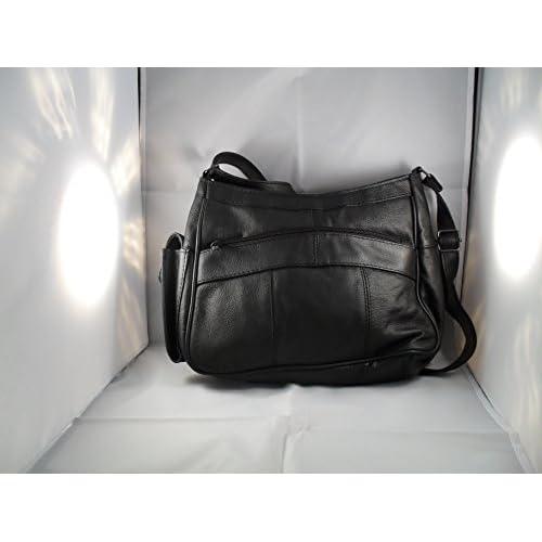 Womens Leather Handbag   Shoulder Bag with Side Mobile Pocket (Brown   Black   Cream   Beige   Blue)