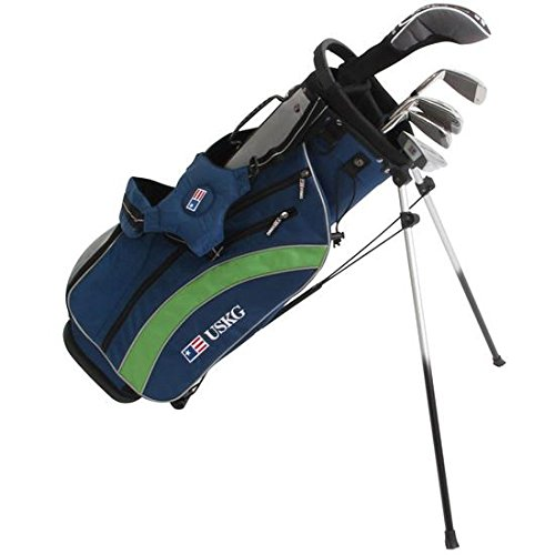 U.S. Kids Ultralight 57 Inch 5-Club Stand Bag Junior Set - Navy-Silver-Green - Right Hand