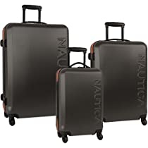 Nautica Luggage Ahoy 3 Piece Hardside Spinner Outer Shell Set, Grey/Orange, One Size