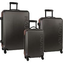 Nautica Luggage Ahoy 3 Piece Hardside Spinner Outer Shell Set, Grey/Orange, One Size