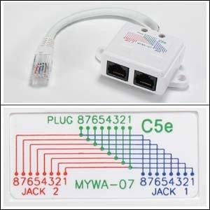 InstallerParts 10/100 BaseT 1P/2J Type 7 Wiring Splitter, Pigtail Type