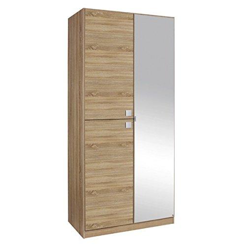 Kleiderschrank grau 3 Türen B 91 cm Schrank Drehtürenschrank Spiegelschrank Wäscheschrank Kinderzimmer Jugendzimmer jetzt bestellen