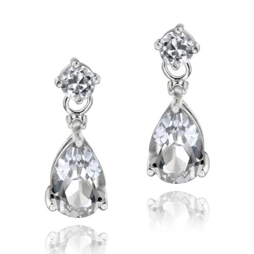 Sterling Silver 3.6ct White Topaz & Diamond Accent Teardrop Earrings