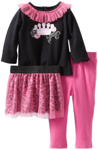 Vitamins Baby Baby-Girls Infant Princess Theme Three Piece Skirt Legging Set, Black, 12 Months