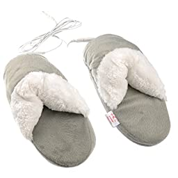 Generic Comfortable Washable USB Powered Warming Backless Slippers (Grey)