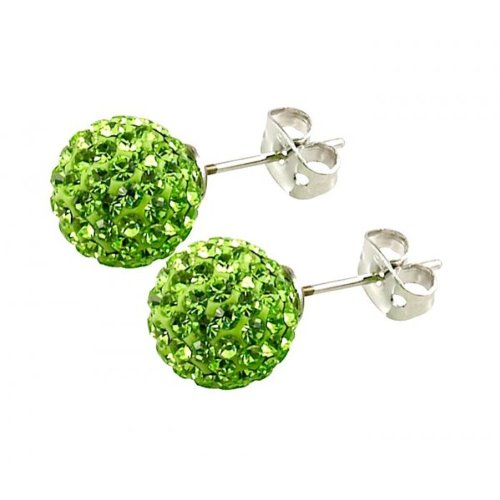 Tresor Paris 'Le Bisson' Green Crystal Earring, 10mm
