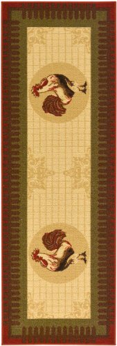 "Siesta Collection Beige 20""X59"" Kitchen Collection Rooster Design Machine-Washable Non-Slip Runner Rug"