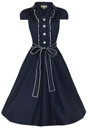 Lindy Bop 'Norma' 1950's Millésime Pinup Shirt Robe (50, Bleu)