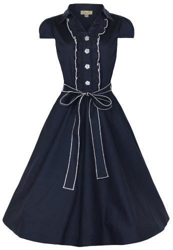 Lindy Bop Women's Norma 1940's WW2 Landgirl Pinup Tea Dress