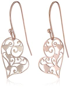 Rose Gold Plated Sterling Silver Heart Filigree Earrings