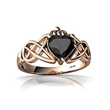 buy 14Kt Rose Gold Black Onyx 6Mm Heart Claddagh Celtic Knot Ring - Size 7.5