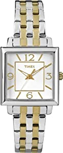 Timex Women's T2P376 Elevated Classics Rectangle Two-Tone Stainless Steel Bracelet Watch