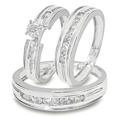1/2 CT. T.W. Round Cut Diamond Trio Matching Wedding Ring Set 10K White Gold Three Ring - Ladies Engagement Ring, Wedding Band & Mens Wedding Band - Free Gift Box -