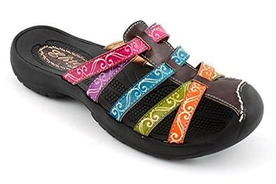 Corkys Footwear Women's Elite Spring Multi Colored Leather Sandals 6