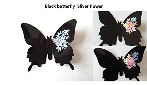 Amaonm® 24 PCS Removable 3D Black Butterfly wall Decals & Sliver Flowers Wall Stickers Murals Home Art Decor for Girls Room Bedroom kids Bathroom TV Background Study Room Wall Decorations