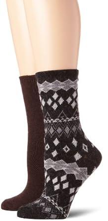 Anne Klein Women's 2-Pack Fair Isle Cashmere Gift Set Socks, Steel Heather, One Size