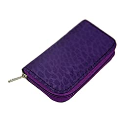 Purple-22 Slots SD/CF Micro Memory Card Storage Pouch Case Holder Wallet Stowing Tidy