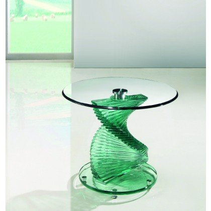 Glass Spiral End Table Clear