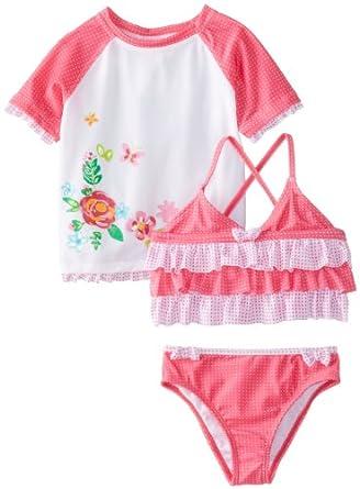 ABSORBA Baby-Girls Infant Flower Swim Suit Set, White/Pink, 12 Months