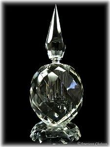 Art Deco BOTTLES Hand Cut CLEAR Crystal Perfume Bottle W TALL STOPPER Gift box