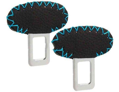Zinc Alloy & Leather Seat Belt Buckles Set Of 2 (Black) front-408713