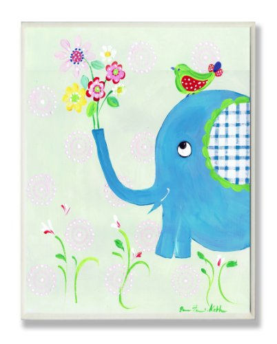 The Kids Room by Stupell Blue Elephant with Flowers Rectangle Wall Plaque