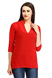 Cottinfab Women Georgette Red Tops (XX-Large)