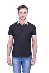 Trendster Black Solids Half Sleeve Casual Men's Shirt