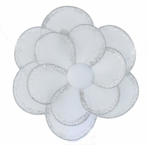 """Hanging Flower 8"""" Medium White Glitter Nylon Daisy Flowers Decorations. Decorate For A Baby Nursery Bedroom, Girls Room Ceiling Wall Decor, Wedding Birthday Party, Bridal Baby Shower, Bathroom. Kids Childrens Daisies Decoration 3D Art Craft front-975943"""