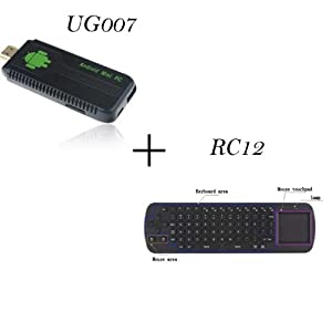 UG007 Mini PC Android 4.1 Jelly Bean TV Box Dual Core Cortex-A9 RK3066 1GB RAM 8G ROM + RC 12 Fly Mouse Air Mouse Keyboard (Black)