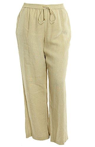 Michael Kors Women'S Plus Size Wide Leg Pull On Linen Pants 24W Hemp