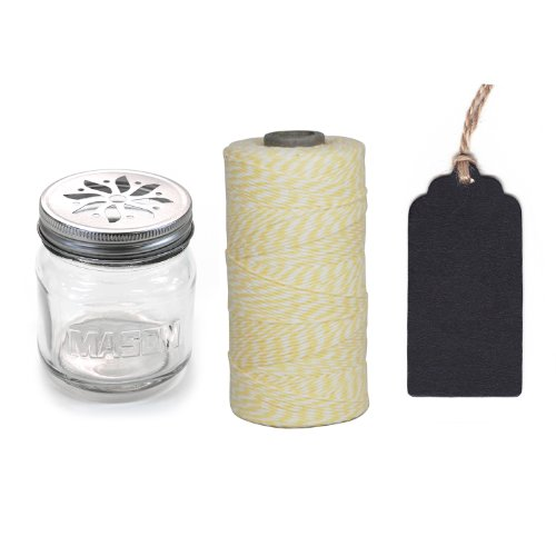 Dress My Cupcake 12-Pack Favor Kit, Includes Vintage Glass Mason Jar Sippers And Twine/Chalkboard Gift Tag, Ivory Light Yellow front-504003