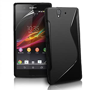 Londonmagicstore® Gadgets Black S-Line Wave Series TPU Silicone Gel Case Cover for Sony Xperia Z with 3 Layered Screen Protector & timri Microfibre LCD Cleaning Cloth - Part of the AIO Accessories Range