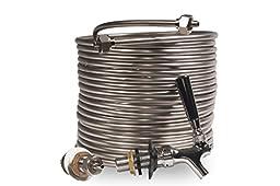 Jockey Box Conversion Kit Single Faucet, DIY Beer Keg Cooler, 3/8-inch 50\' Stainless Steel Coil, Food Grade 304ss