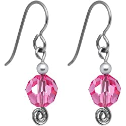 Handcrafted October Birthstone Titanium Nickel Free Earrings MADE WITH SWAROVSKI