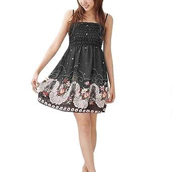 Woman Smocked Back Adjustable Straps Chiffon Mini Dress