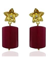 Aastha Jain Red Zade Quartz Sterling Silver Rectangle(18k Gold Plated) Earring For Women