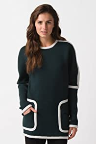 Fashion Show Long Sleeve Structured Contrast Detail Sweater