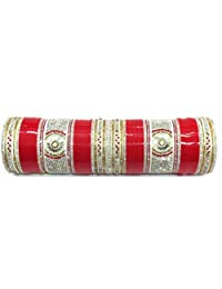Shingar Jewellery Ksvk Jewels Punjabi Suhaag A.d Kundan Chura In 2.8 Size In Red Colour For Women (7735-pc-r-2.8...