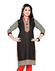 ALC Creations Black Cotton Kurti, Long, Casual, Formal, Women's Kurti