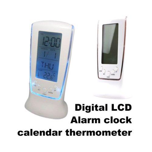 Vktech Alarm Clock Thermometer Digital Lcd Calendar Backlight Clock