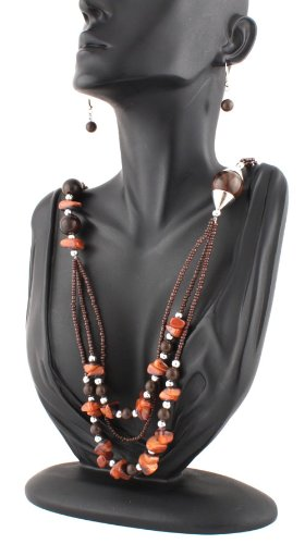 Ladies Brown 24 Inch Adjustable Necklace with Beads and Pebbles and Matching Dangle Earrings Jewelry Set