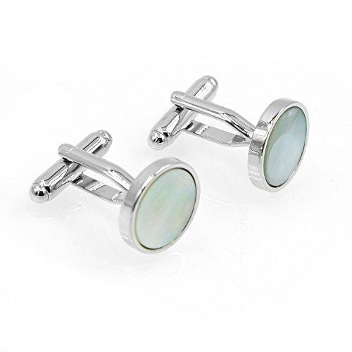 Three Keys Jewelry Women Men Unique Round Brilliant Abalone Shell Silver Copper Cufflinks for Formal Shirt Dress