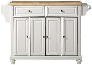 Crosley Furniture Cambridge Kitchen Island With Natural Wood Top White