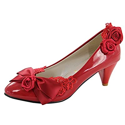 Msmushroom Ladies Red Wedding Shoes Party Wear With Lace