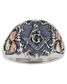 buy Freemason'S Oxidized Signet Ring, Sterling Silver, 12K Rose Gold And 12K Green Gold Black Hills Gold Motif, Size 12