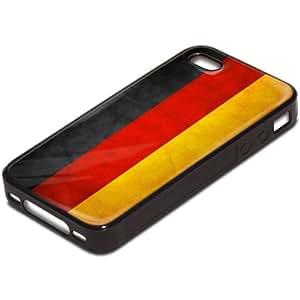 Drapeaux Allemagne 3, Carte du Monde, Antichoc Tough Silikone Rigide Coque Etui Case Housse Noir avec l'Image Coloré pour Apple iPhone 4 4S.