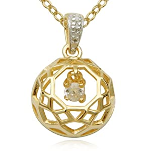 18k Yellow Gold Plated Sterling Silver Cubic Zirconia Openwork Round Drop Pendant Necklace, 18