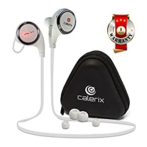 Headphones Bluetooth 4.1 Wireless Calerix, with Sweat Proof, Noise Cancelling Technology - Lightweight Sport In-Ear Earbuds with Built-In Microphone - Connect to iPhone iOS, Samsung Galaxy Android