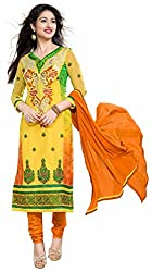 DKS Designers Women's Georgette Unstitched Dress Material (PN401_Yellow_Free Size)